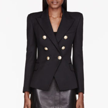 Balmain Black Double-breasted Classic Blazer for women | SSENSE