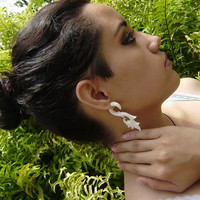 Fake gauges , Bone Split Gauge ,Earrings Fancy Craved Feather tribal