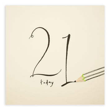 21st Birthday Pencil Shavings Card