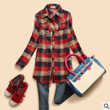 Free shipping, autumn women's classic slim medium-long turn-down collar flannel plaid shirt