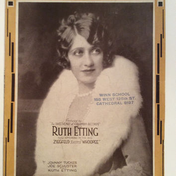 """RUTH ETTING Sheet Music """"Maybe! - Who Knows?"""" 1929 Ziegfeld from the movie Whoopee"""