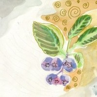 Juneberry painting - watercolor golden ink and pencils