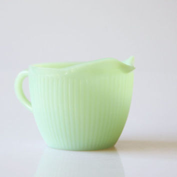 Fire King Jadeite creamer, vintage mint green milk jug, green decor, retro Fire King kitchenware, pastel green creamer, soft green creamer