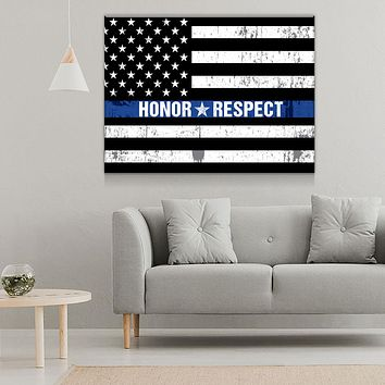 Honor Respect Thin Blue Line Canvas Wall Art
