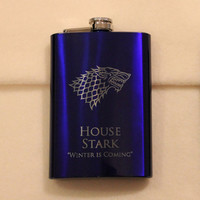 Game of Thrones 8 oz Blue House Stark Flask