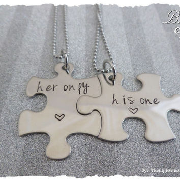 His One Her Only Matching Puzzle Piece Necklaces