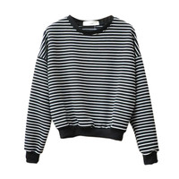 Europe and America simple loose women tops short section black and white striped sweatshirt women hoodies long-sleeved o-neck