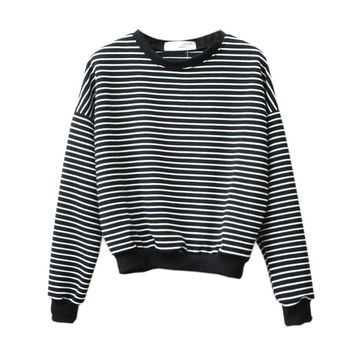 Europe and America simple loose women tops short section black and white striped sweatshirt women hoodies long sleeve o-neck