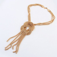 Trendy Alloy Pendant Knot Necklace