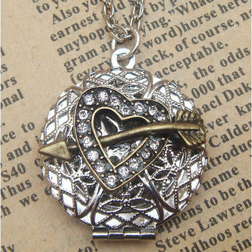 Steampunk Heart and Arrow Locket Necklace Vintage by sallydesign