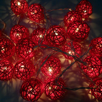 20pcs Red Handmade Rattan Balls String Lights Fairy Party Patio Decor Wedding Christmas p7
