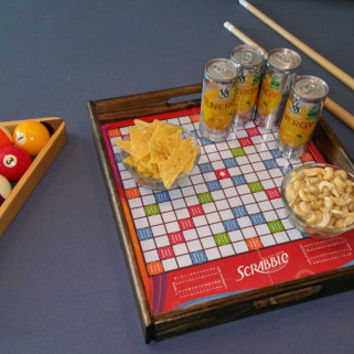 NEW Custom Scrabble Game Board Serving Tray / Game Room Wood Serving Tray / Game Night