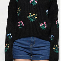 Flower Embellished Batwing Sleeve Knitwear