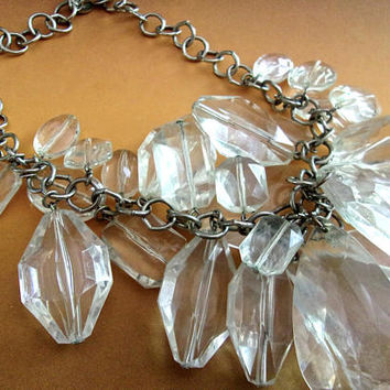 Clear Lucite RJ GRAZIANO Bib Necklace, Faceted Beads, Chunky, Vintage