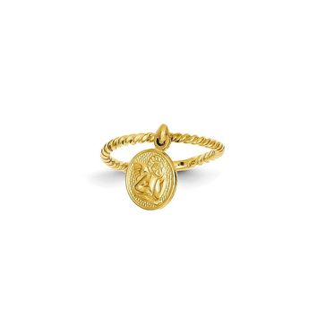 14k Yellow Gold Polished Angel Dangle Charm Child's Ring
