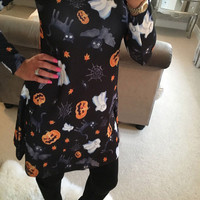 Women Casual Dress Pumpkin Print Long Sleeve Party Mini Dress For Halloween LoT