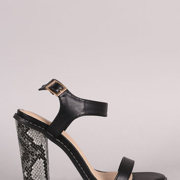 Liliana Open Toe Ankle Strap Chunky Python Wrapped Heel