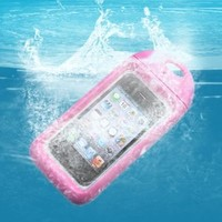 AGPtek® Brand New Waterproof Hard Case Cover for Apple iPhone 4 4S Plus Neck Strap -Pink