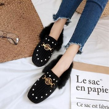 Women Fashion All-match Metal Little Bee Diamond Square-toe Rabbit Hair Velvet Loafer Lazy Flats Shoes