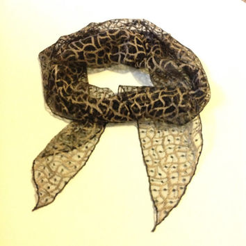 Fancy Black lace scarf, Animal print lace scaf, black animal lace bandana, Black Cream print lace snood tichel, Free shipping