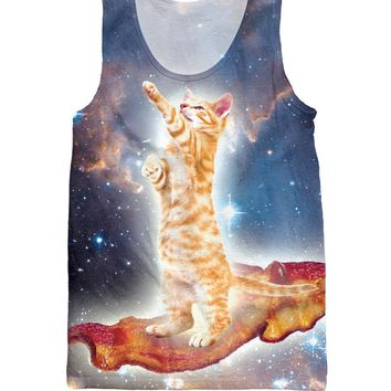 Cat Surfing Bacon All Over Print Tank Top Unisex