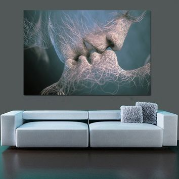 New Fashion Black White Love Kiss Abstract Art On Canvas Painting Wall Art Picture Print Home Decor Creative Papers Wall Sticker