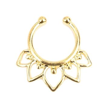 BodyJ4You Non-Pierced Clip On Septum Ring Tribal Hearts Goldtone Piercing Jewelry