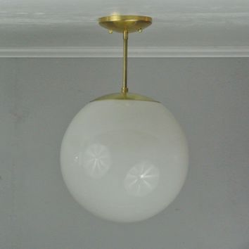 XL Brass Mid Century Glass Pendant Light