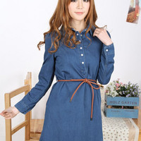 Blue Shirt Collar Long Sleeve A-Line Mini Dress