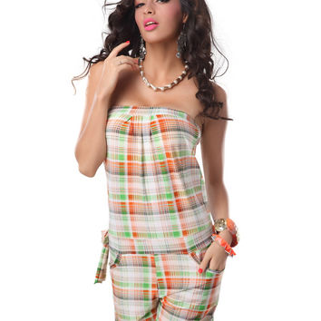 Plaid Strapless Romper with Pocket