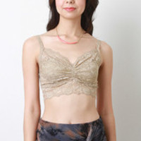 Sheer Floral Lace Crop Top