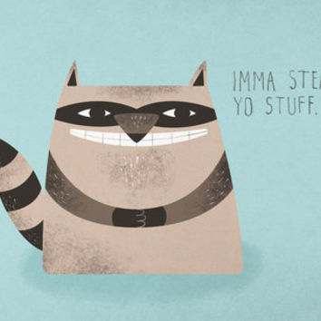 Sneaky Raccoon Art Print by Chase Kunz | Society6