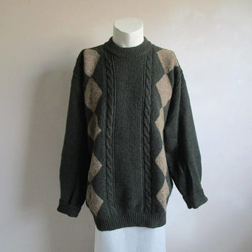 Vintage 1980s WOOLRICH Jumper Agate Dark Green Wool Blend Crewneck 80s Mens Pullover Sweater XL