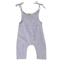 Baby Girls Summer gray Strap Romper