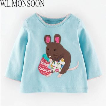 Kids Clothes Girls Long Sleeve T-shirt Baby 2017 Autumn Trendy Girls Top Tees Animal Pattern Children Clothing for Kids 2-7Y