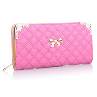 Metal Bowknot Quilted Wallet