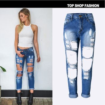Hot sale fashion Straight beggars big hole loose Wear white dark blue cowboy pants