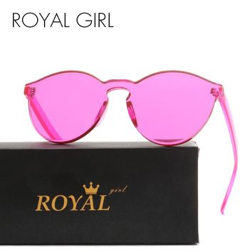 ROYAL GIRL Top Quality Transparent Glasses Round frame Candy Sunglasses Chunky Sun Shades female ss297
