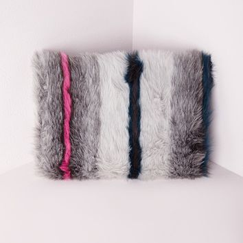 Missguided - Stripe Faux Fur Clutch