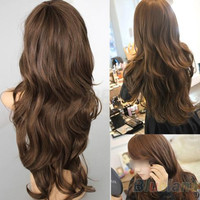 New Sexy Womens Girls Fashion Style Wavy Curly Long Hair Human Full Wigs Colors  01TK 4N5K