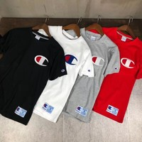"""""""Champion"""" Unisex Casual Letter Embroidery Couple Short Sleeve T-shirt Top Tee"""