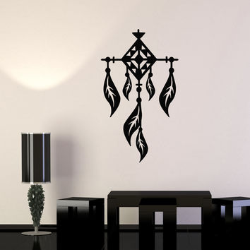 Vinyl Wall Decal Feathers Dreamcatcher Ethnic Style Room Decoration Stickers Unique Gift (990ig)