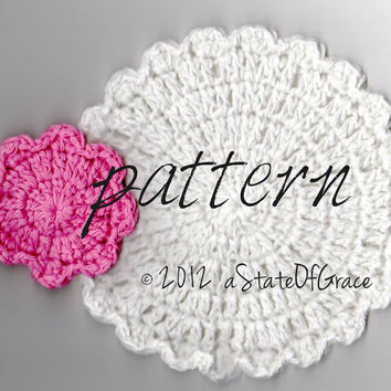PATTERN - Flower Facial Scrubbie & Washcloth / Dishcloth / Doily / hotpad / coaster - TREASURY Item - Crochet Pattern - Instant DOWNLOAD