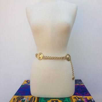 CREY1O Vintage VERSACE Gold Chain Belt 'GIANNI VERSACE Couture' Medusa Chain Belt Medusa Belt