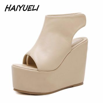 HAIYUELI new summer fashion women wedge sandals flip flop casual shoes woman girls high heels platforms sandals thick bottom