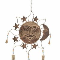 "Metal Glass SUN WINDCHIME 18""W 26""H"