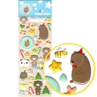 Adorable Cartoon Teddy Bear Shaped Animal Puffy Stickers for Scrapbooking