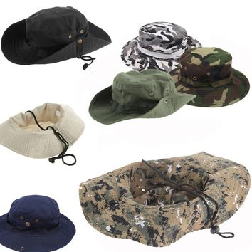 New Military Army Bucket Boonie Cap Hat Hiking Fishing Camping Lightweight Multicolor