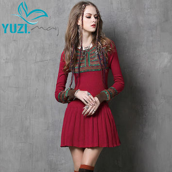 Women Dress Yuzi.may 2017 Vintage New Bodycon Cotton Dresses Long Lantern Sleeve Jacquard Flare Vestidos Femininos 6058 Vestido