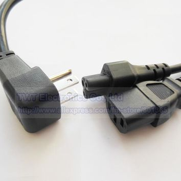 USA Canada Multi Function 2 in 1 Power Cable,US Nema 5-15P Male Plug to IEC 320 C13 and C5 Y Splitter Power Cord , Free shipping